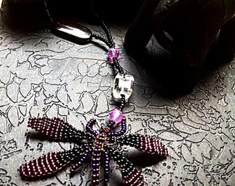 Purple and black Dragonfly Seedbead Necklace