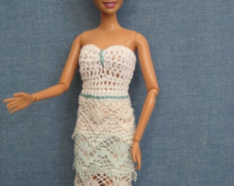 Handmade Barbie Doll Clothes, Barbie Dresses, Barbie Clothes, White and Blue Layered Lace  Dress