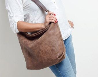 brown leather shoulder bag - oversized leather bag - crossbody leather bag - over shoulder bag - over the shoulder bag - ALEX MS7038 - Brown