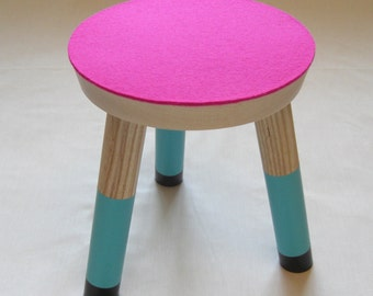 Three legged stool, nursery stool, childrens seat, multicoloured childrens stool, handmade nursery decor, childrens bedroom furniture