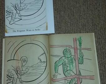 Vintage 1966 Batman Whitman Coloring Book Original Art (Frogman)