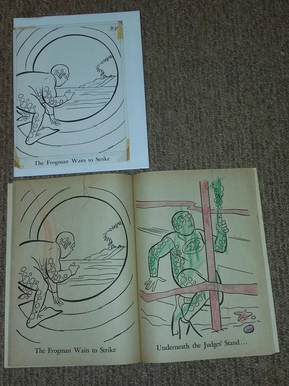 Vintage 1966 Batman Whitman Coloring Book Original Art Frogman