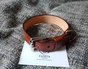 Leather dog collar 'Brown'