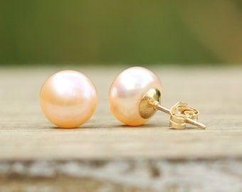 Pearl Earrings, 14K Gold Filled Rose Peach Pink Pearl Stud Earrings, Real Pearl Earrings, Freshwater Pearl Studs, Bridesmaids Gift, 8-11mm
