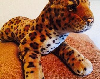 Vintage Stuffed Cat Plush, Stuffed Leopard, Cheetah, Realistic Stuffed Animal, Best Made Toys