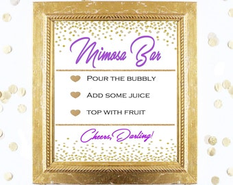 Bridal Shower Game Sign - Mimosa Bubbly Bar Sign - PURPLE and GOLD - Instant Printable Digital Download - Birthday Party Printable Pink Gold