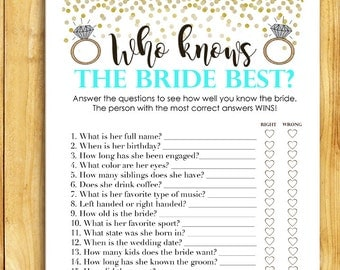 Bridal Shower Game Download - Who Knows the Bride Best - Teal and Gold - Instant Printable Digital Turquoise - diy Teal Shower Printable