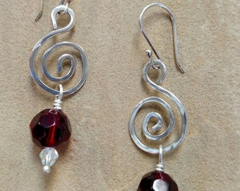 Elegant Red and Silver Dangle Earrings