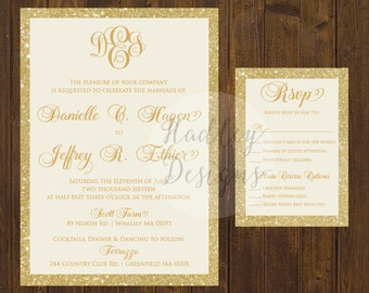 Glitter Wedding Invitation, Gold Glitter Wedding Invite, Elegant Wedding Invitation, Gold Wedding Invitation, Modern Wedding Invitation