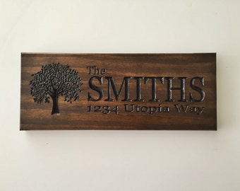 Address Sign; Personalized Address Sign; rustic home sign; Tree sign