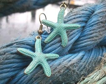 Seestern Ohrring, türkis, bronze, grün Grünspan, Meer Ozean Strand, auch als Ohrclips