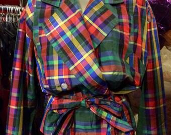 1990's Nadine H. plaid loose shirtcoat, blouse, with belt. Size M/L.