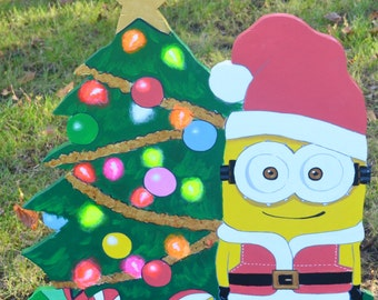 Minion as Santa Clause on Christmas lawn decoration