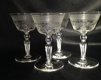 Vintage etched glassware cordial,Etched cordial glass,Set of 4 etched floral glass stripe stemware,vintage etched stemware