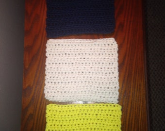 Crochet Cotton Dishcloths & Washcloths-Yellow-Ivory-Navy Blue-Dish cloths Wash cloths-Eco friendly Reusable Bathroom and Kitchen Cloths