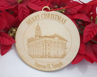 Personalized Wooden LDS Temple Ornament, 4""