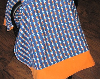 Baby boy carseat canopy, baby boy car seat cover, infant carsesat cover, blue, orange, white, baby accessories, baby shower gift