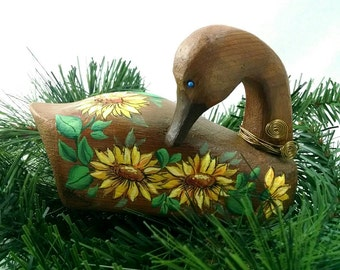 Wooden Duck, Sunflowers, Handmade, Handpainted, Gift for Home, Housewarming Christmas Gift, Found Duck