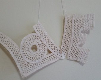 LOVE Crochet Wall Art