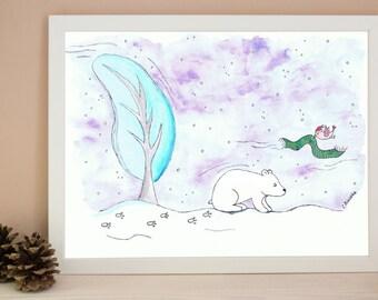 POLAR BEAR print art, wall decor