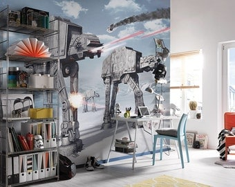Star Wars Wall Mural, AT-AT walkers Wallpaper, Imperial Walker Wall décor, Wall decal, Nursery and room décor, Wall art