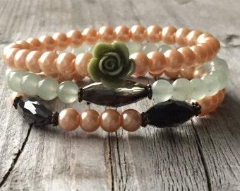 Woman bracelet, Bracelet set, Rose bracelet, Woman Jewelery, Stretch stacking bracelet, Beaded Boho bracelet, Bohemian bracelet, woman gift