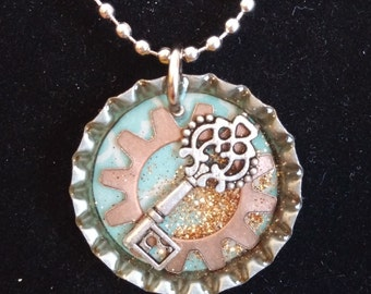 Bottlecap necklace with embedded objects