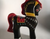 Vintage Russian folk art painted horse figurine dala horse swedish dala horse
