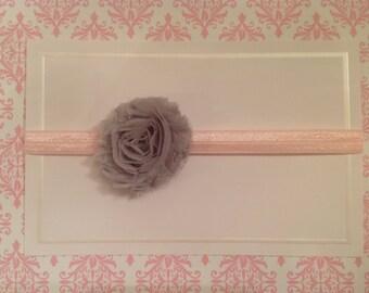 Flower Headband, Baby Headband, Photo Prop, Gray and Pink, Baby Gift, Newborn Headband, Handmade, N11