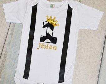 Boys 1st Birthday Black Gold King Crown Onesie Shirt Personalized