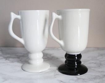 Set of Black & White Vintage Mugs by Hall