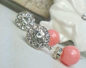 SUPER SALE  Set of 6 Coral Bridal Earrings, Six Pairs Bridesmaids Jewelry Gift, Swarovski Pearl Earrings, Pink Coral Wedding, Belle