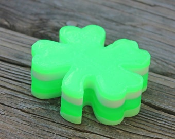 St Patricks Day Soap - 4 leaf clover - Irish soap - Celtic Soap - Irish Gift - Neon Green Soap - Shamrock Soap - Clover soap - Lucky Soap