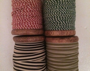 Set of Multi-Color Twine on Wooden Spools