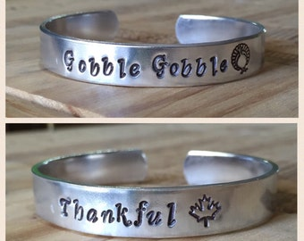 Hand Stamped Gobble Gobble/Thankful Thanksgiving cuff bracelet-3 finish options