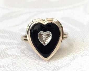 onyx heart ring etsy. Black Bedroom Furniture Sets. Home Design Ideas