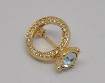 Swarovski ( swan signed) Figural Engagement Ring Brooch