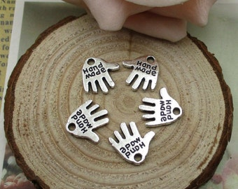 20Pcs 13x12mm Hand Charms,Handmade Tag, Antique Silver Tone 2 Sided-p1521
