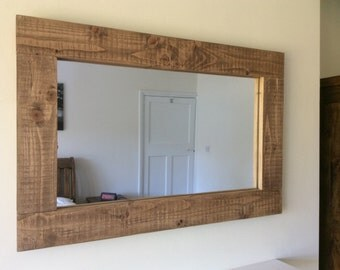 Handcrafted Rustic Reclaimed Wooden Mirror In Walnut Wax