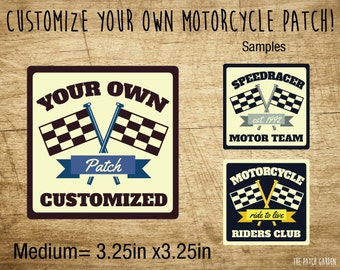 10+ MEDIUM Rounded Square Motorcycle Patches - Race Patches - Tournament Patches