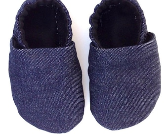 Jean Baby Shoes, Denim shoes, handmade shoes, handmade slippers, baby slippers, kids slippers, Denim shoes, Denim slippers, Toasty Toes