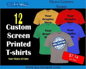 12 Custom Screen Printed Shirts