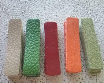 leather rectangles, 2 1/8 inch X 1/2 inch 40 total 8 each color.
