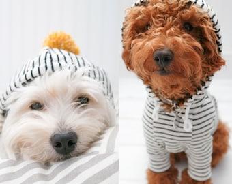 Dog Clothes, Off White Stripe Hoodie with Pom Pom and Pocket