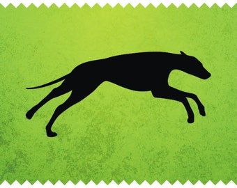 Running Greyhound Silhouete -  svg - ai - dxf - cdr - pat - jpeg - png - pdf - wmf - docx -Printable Clipart - Laser Engraving