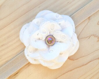 Shabby Chic Older Baby/Toddler Headband — Ivory Eyelet Lace Fabric Flower with Iridescent Latte Pearl on Tan Stretch Elastic