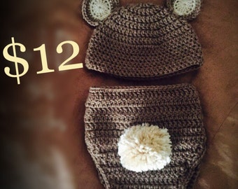 Baby Bear Hat/Diaper Cover Set