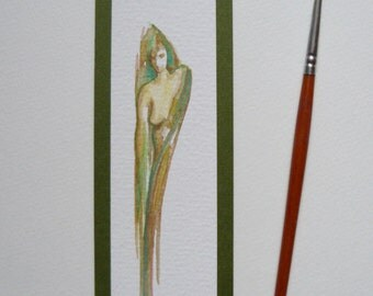 Watercolour miniature female figure ochre green bookmark