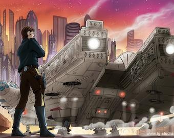 Han Solo and The Millennium Falcon (signed prints) © Iván García