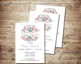 Teal Pink Gray Burlap Baby Shower Invitation, Floral Baby Shower Invite, Teal, Pink, Gray, Burlap invitation, Flowers Invite